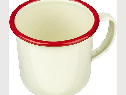 Falcon Ware Cream & Red Enamel Mug