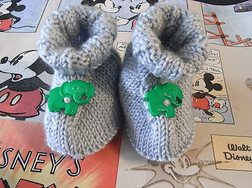 Grey Elephant Button Baby Bootees