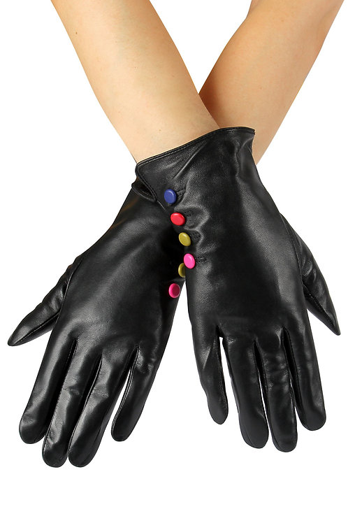 Coloured Button Leather Gloves