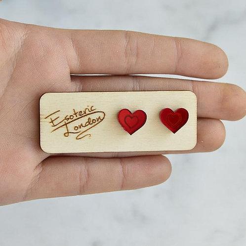 Esoteric Red Mini Heart Studs