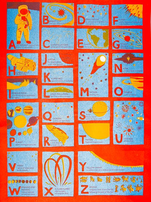 Astronomy Alphabet Risograph Print