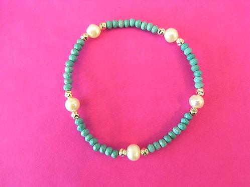 Sea Daisy 925 Silver Turquoise & Fresh Water Pearl Bracelet