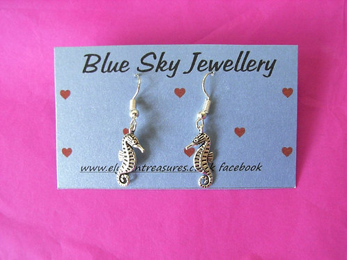 Blue Sky Sea Horse Earrings