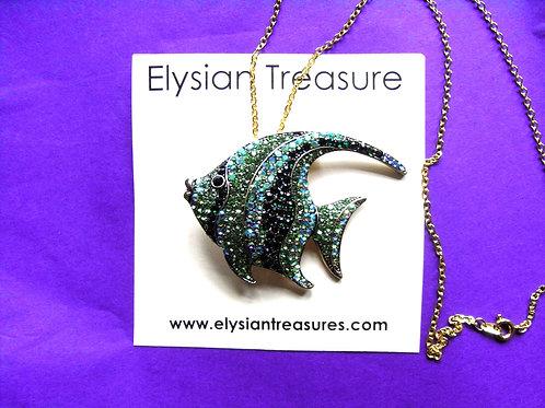 Green Crystal Fish Brooch/Necklace