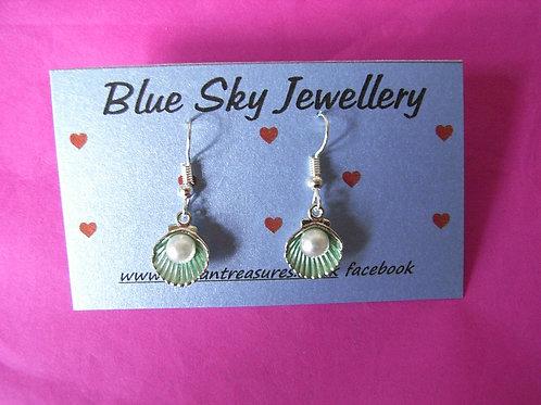 Blue Sky Aqua Shell Earrings