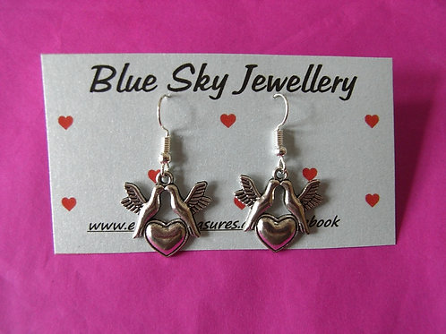 Blue Sky Lovebird Earrings