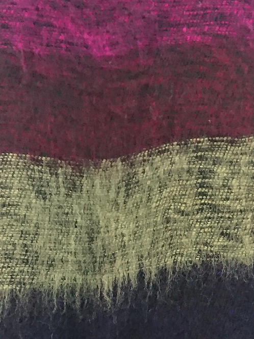 Black + Fuchsia Tassel Scarf 50% Wool