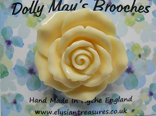 Cream Rose Resin Brooch
