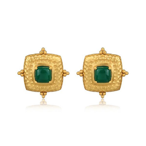 GOLD AND GREEN ONYX DECORATIVE STUD