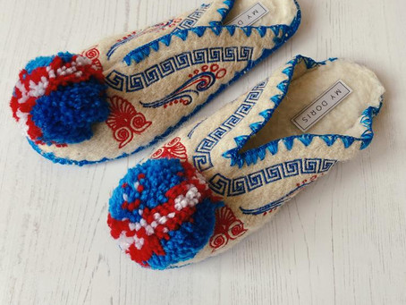Truly gorgeous My Doris Greek pom pom slippers £15