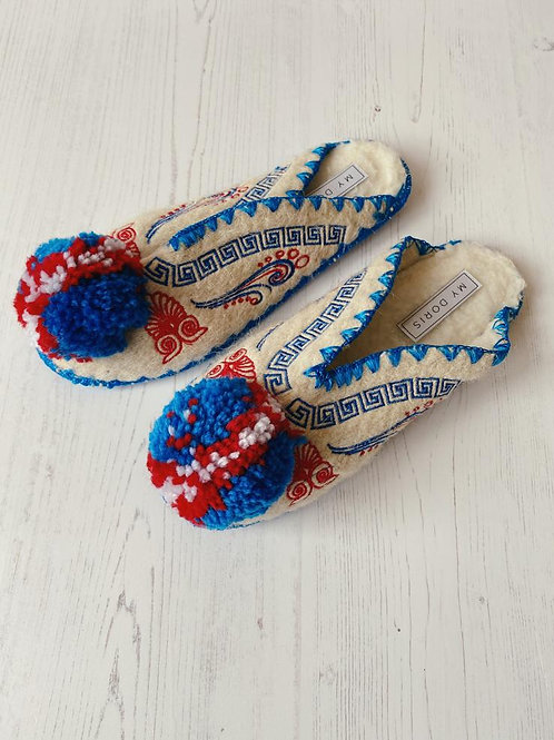 My Doris Blue & Red Greek Slippers