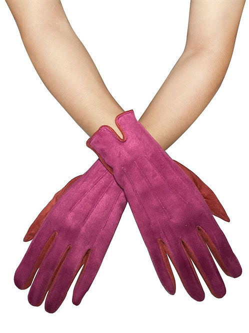 Two Tone Fuchsia Suede Effect Touchscreen Gloves