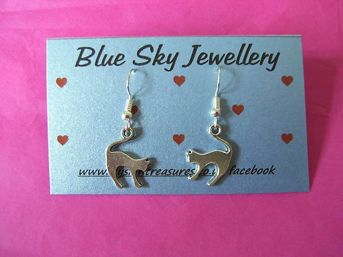 Blue Sky Cat Earrings