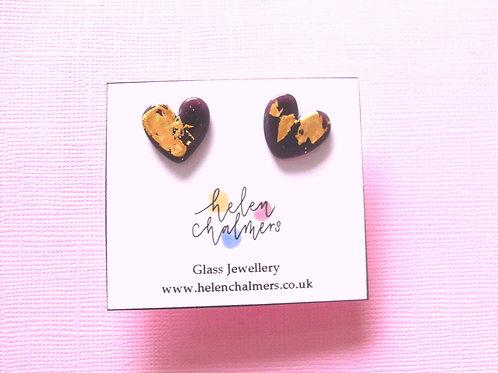 Helen Chalmers Plum Heart Earrings (Design 27)