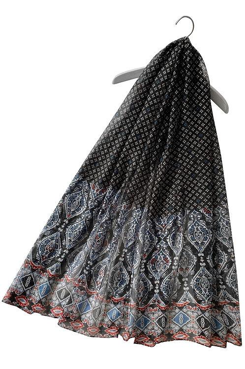 Moroccan Style Black Print Scarf