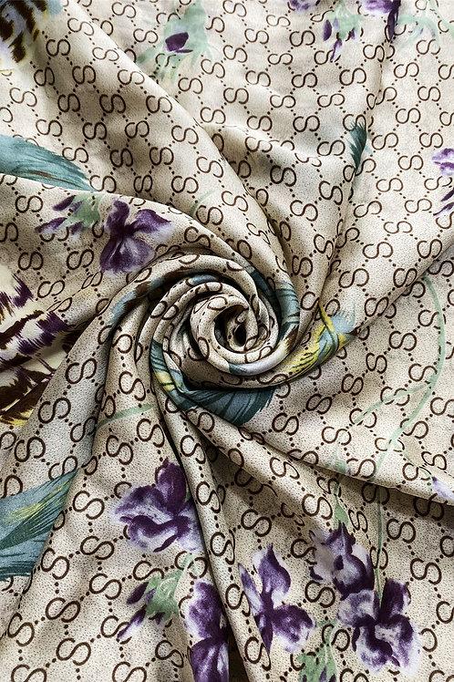 Beige Feather & Flower Scarf 100% Silk