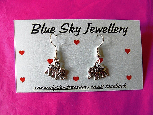Blue Sky Elephant Earrings