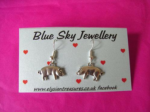 Blue Sky Pig Earrings