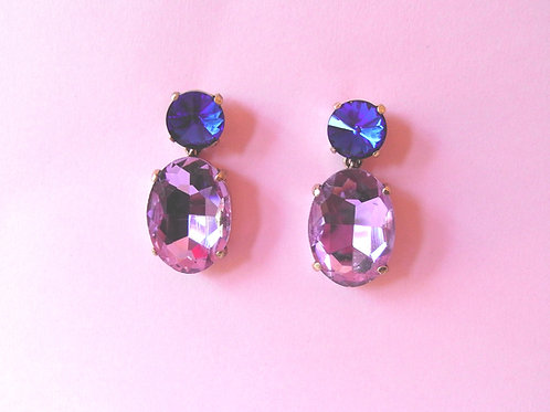 Lilac Crystal Stud Earrings