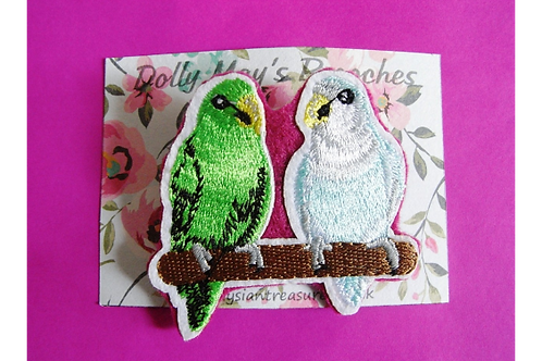 Dolly May Budgie Brooch
