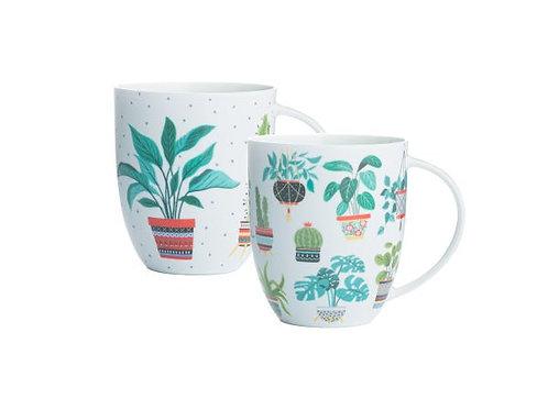House Plant Bone China Mugs