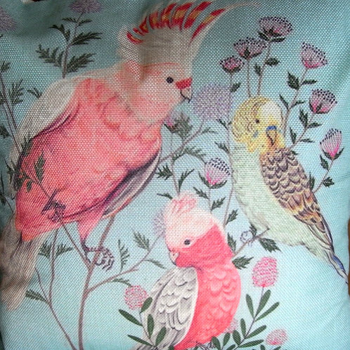 Pale Blue Parrot Cushion Cover