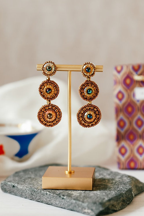 My Doris Triple Beaded Gold Circle Drop Earrings
