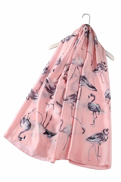 Pink Flamingo Silk Scarf   100% Silk