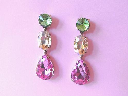 Trio Crystal Stud Earrings
