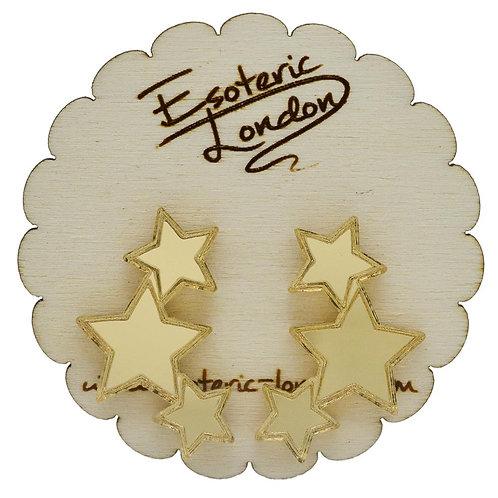 Esoteric Gold Triple Star Earrings