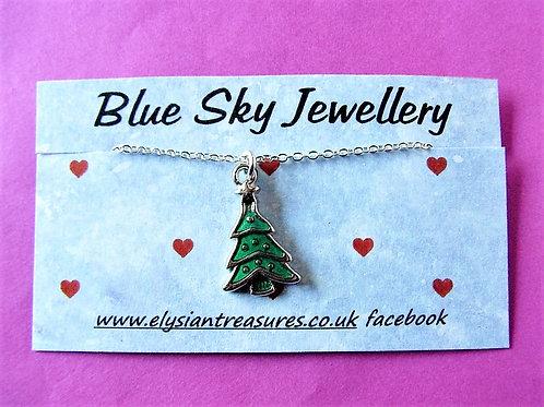 Blue Sky Green Enamel Christmas Tree Necklace