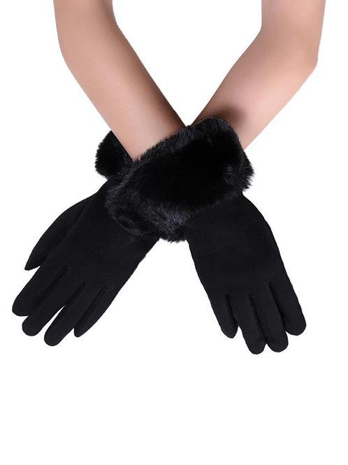 Black Faux Fur Trim Touchscreen Gloves