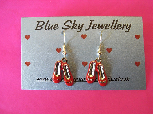 Blue Sky Red Shoes Charm Earrings