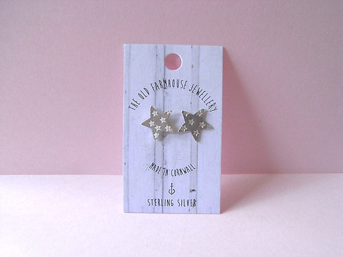 Old Farmhouse Silver Stamped Star Studs