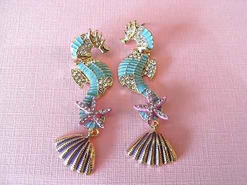 Cocktail Sea Horse Earrings