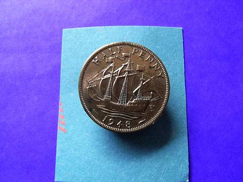 1948 Half Penny Coin Brooch