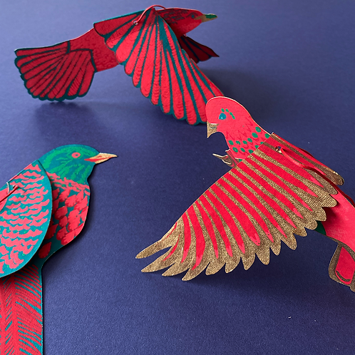 Christmas Bird Paper Decorations