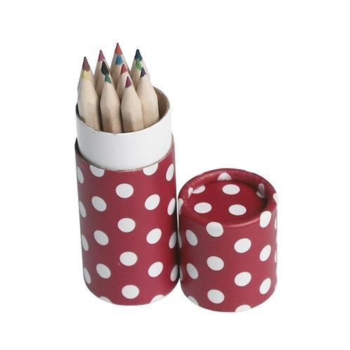 12 Pencils Small Tube Red Retro Spot