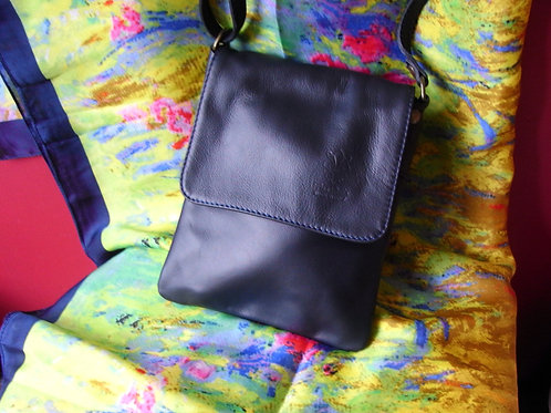 Faye Classic Navy Leather Over The Body Shoulder Bag