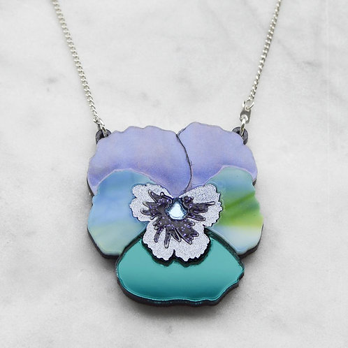 Esoteric Blue Textured Pansy Necklace