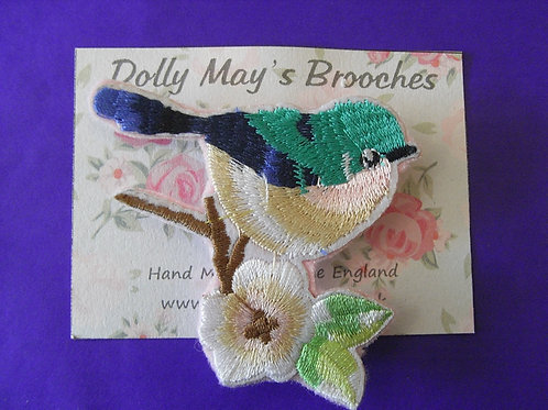 Dolly May Blue Bird Embroidered Brooch
