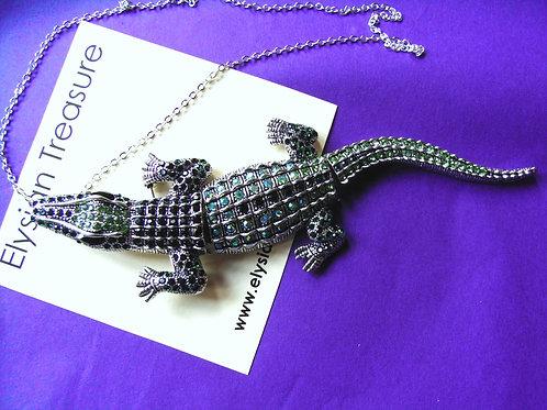 Green Crystal Alligator Brooch/Necklace