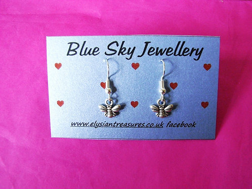 Blue Sky Mini Bee Earrings