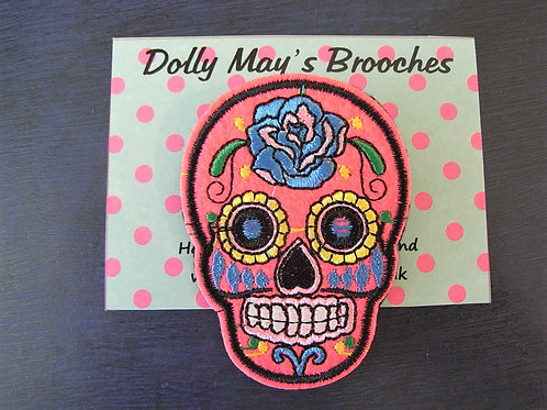 Embroidered Skull Brooches