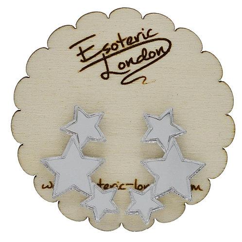 Esoteric Silver Triple Star Earrings