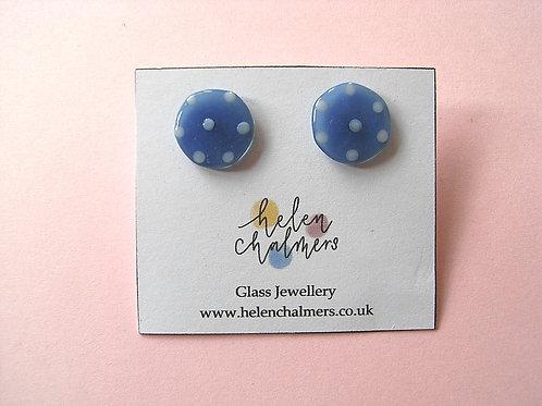 Helen Chalmers Dotty Slate Blue Button Studs (14)