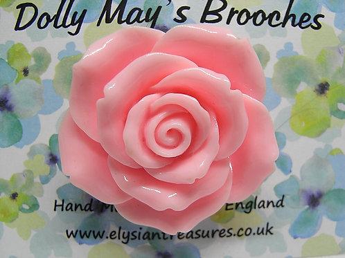 Pale Pink Rose Resin Brooch