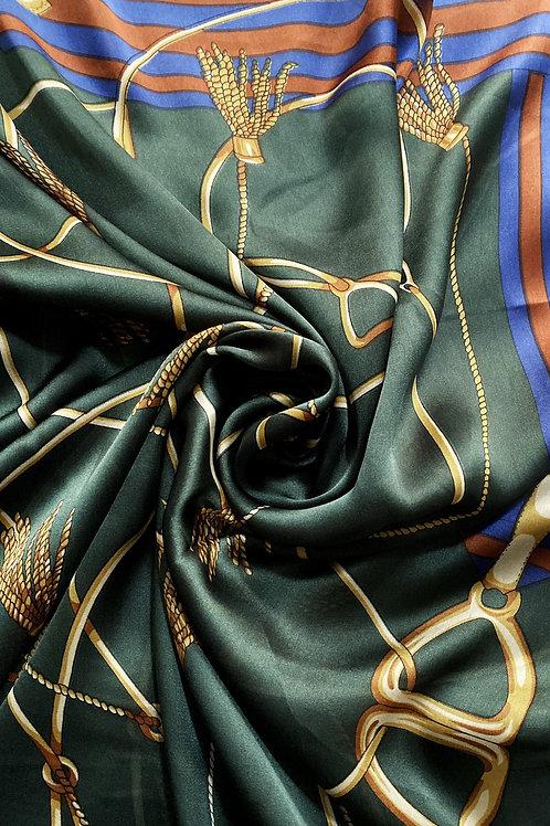 Elegant Tassle & Buckle Silk Scarf   100% Silk