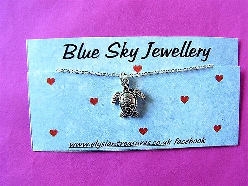 Blue Sky Turtle Necklace