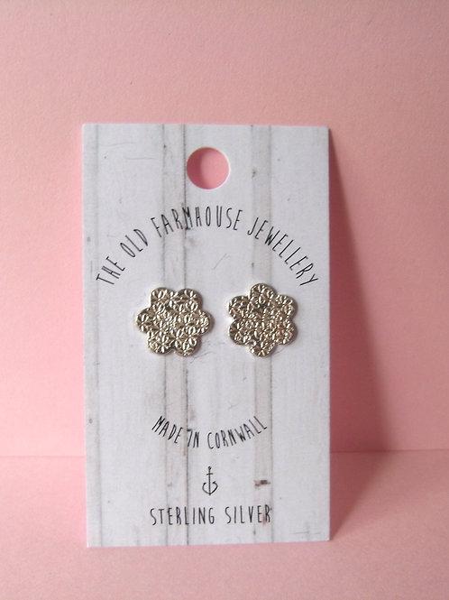 Old Farmhouse Silver Stamped Flower Stud Earrings